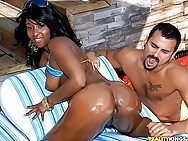 mega hot ass black babe gets wet in the pool then gets pounded hard after masterbating in these ho poolside power fucking ass cream covered pics